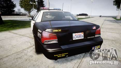 GTA V Vapid Police Cruiser Rotor для GTA 4 вид сзади слева