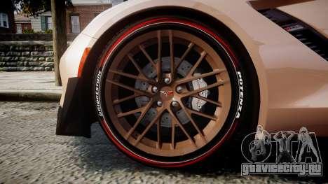 Chevrolet Corvette Z06 2015 TireBr2 для GTA 4 вид сзади