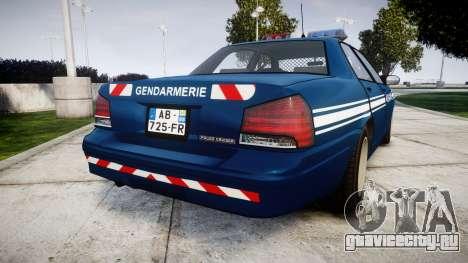 GTA V Vapid Police Cruiser Gendarmerie1 для GTA 4 вид сзади слева