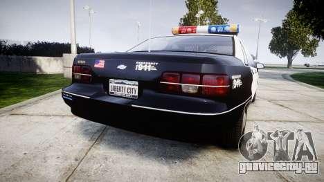 Chevrolet Caprice 1991 LAPD [ELS] Patrol для GTA 4 вид сзади слева