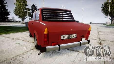 Trabant 601 deluxe 1981 для GTA 4 вид сзади слева