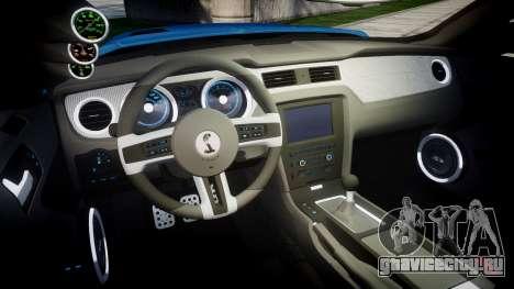 Ford Mustang Shelby GT500 2013 для GTA 4 вид изнутри