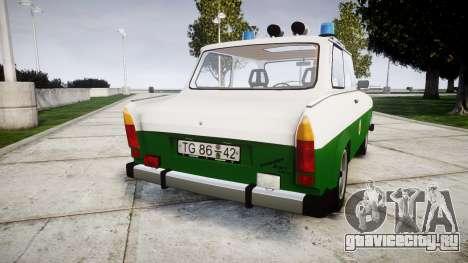 Trabant 601 deluxe 1981 Police для GTA 4 вид сзади слева