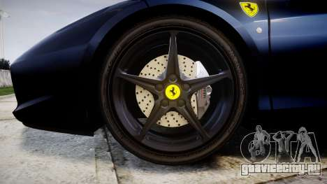 Ferrari 458 Italia 2010 v3.0 Slipknot для GTA 4 вид сзади