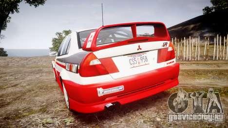 Mitsubishi Lancer Evolution VI Rally Edition для GTA 4 вид сзади слева