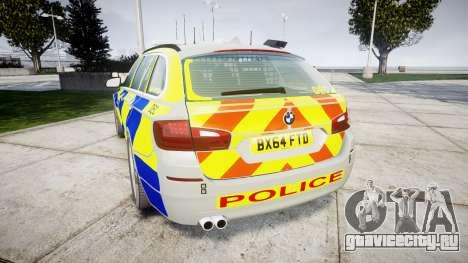 BMW 525d F11 2014 Police [ELS] для GTA 4 вид сзади слева