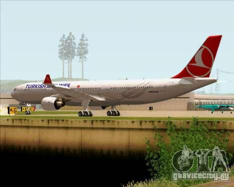 Airbus A330-300 Turkish Airlines для GTA San Andreas вид сзади