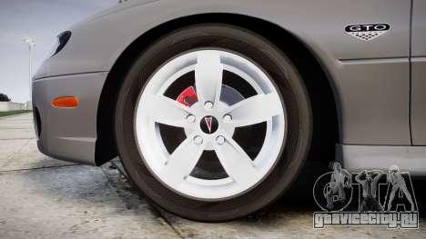 Pontiac GTO 2006 17in wheels для GTA 4 вид сзади