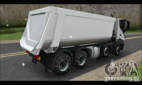Iveco Trakker 2014 Tipper Snow для GTA San Andreas вид сзади слева