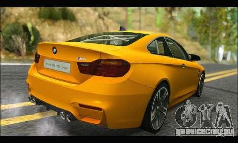 BMW M4 F80 Coupe 1.0 2014 для GTA San Andreas вид сзади
