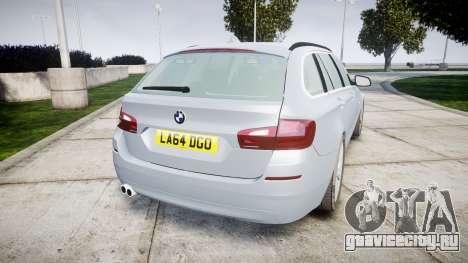 BMW 525d F11 2014 Facelift [ELS] Unmarked для GTA 4 вид сзади слева