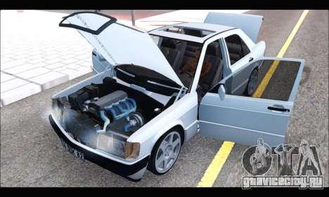 Mercedes Bad-Benz 190E (34 DDK 82) для GTA San Andreas вид изнутри