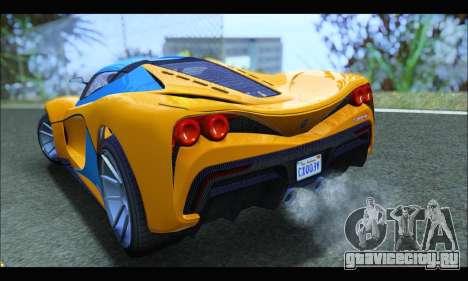Grotti Turismo R v2 (GTA V) (IVF) для GTA San Andreas вид сзади слева
