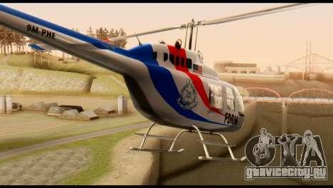 Malaysian Polis Helicopter Eurocopter Squirrel для GTA San Andreas вид сзади слева