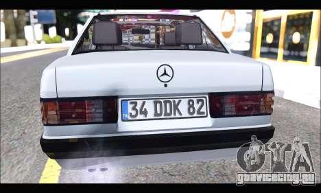 Mercedes Bad-Benz 190E (34 DDK 82) для GTA San Andreas вид сзади