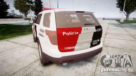 Ford Explorer 2013 Police Forca Tatica [ELS] для GTA 4 вид сзади слева