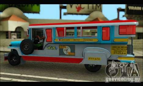 Jeepney Legacy для GTA San Andreas вид сзади