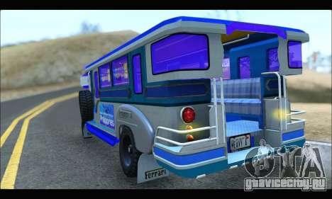 Light Jeepney для GTA San Andreas вид справа