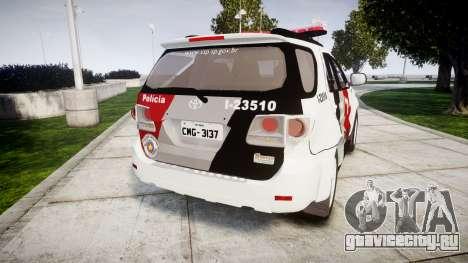 Toyota Hilux SW4 2015 Forca Tatica [ELS] для GTA 4 вид сзади слева
