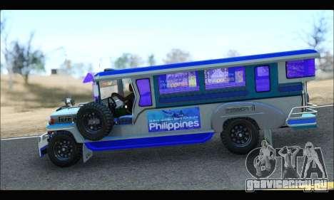 Light Jeepney для GTA San Andreas вид сзади слева