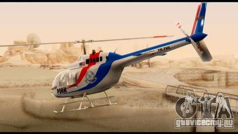 Malaysian Polis Helicopter Eurocopter Squirrel для GTA San Andreas вид слева