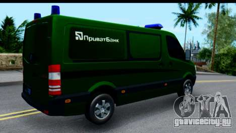 Mercedes-Benz Sprinter ПриватБанк для GTA San Andreas вид сзади слева