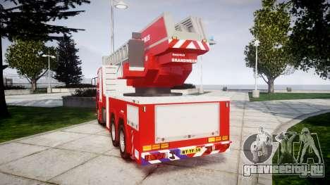 Scania R580 Dutch Fireladder [ELS] для GTA 4 вид сзади слева