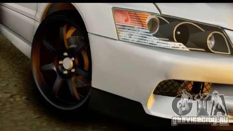 Mitsubishi Lancer Evo IX для GTA San Andreas вид сзади слева