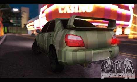 Subaru Impreza WRX Camo для GTA San Andreas вид сзади слева