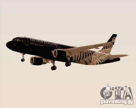 Airbus A320-200 Air New Zealand для GTA San Andreas вид сзади слева