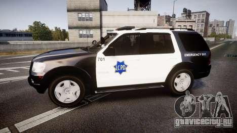Ford Explorer 2008 LCPD [ELS] для GTA 4 вид слева
