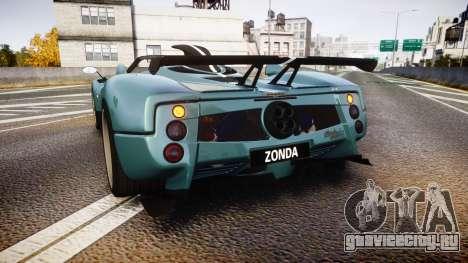 Pagani Zonda Cinque Roadster 2010 для GTA 4 вид сзади слева