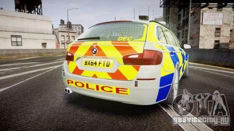 BMW 525d F11 2014 Metropolitan Police [ELS] для GTA 4 вид сзади слева