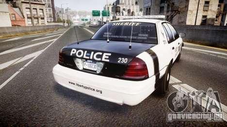 Ford Crown Victoria Sheriff Dukes [ELS] для GTA 4 вид сзади слева
