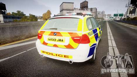 BMW 325d E91 2009 Sussex Police [ELS] для GTA 4 вид сзади слева