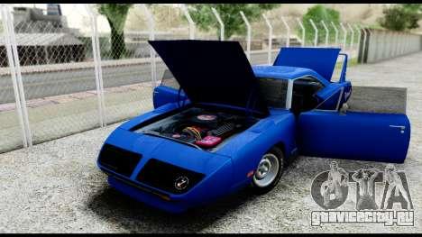 Plymouth Roadrunner Superbird RM23 1970 HQLM для GTA San Andreas вид сзади