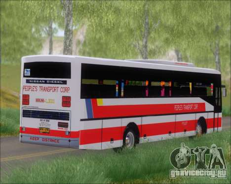 Nissan Diesel UD Peoples Transport Corporation для GTA San Andreas вид изнутри