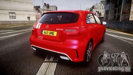 Mersedes-Benz A45 AMG PJs2 для GTA 4 вид сзади слева