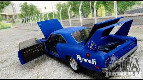 Plymouth Roadrunner Superbird RM23 1970 HQLM для GTA San Andreas вид изнутри