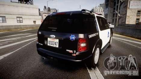 Ford Explorer 2008 LCPD [ELS] для GTA 4 вид сзади слева
