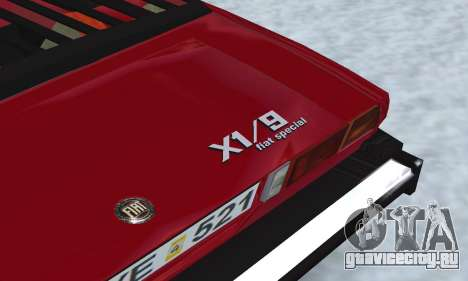 Fiat Bertone X1 9 для GTA San Andreas вид изнутри
