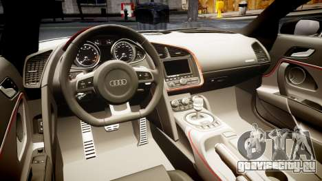 Audi R8 E-Tron 2014 dual tone для GTA 4 вид изнутри