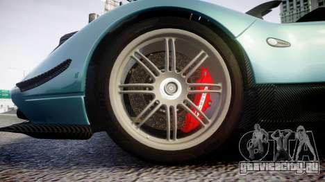 Pagani Zonda Cinque Roadster 2010 для GTA 4 вид сзади