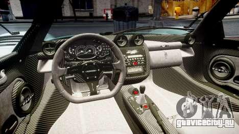 Pagani Zonda Cinque Roadster 2010 для GTA 4 вид сбоку