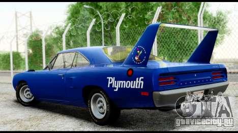 Plymouth Roadrunner Superbird RM23 1970 HQLM для GTA San Andreas вид сзади слева