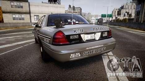 Ford Crown Victoria Sheriff K-9 Unit [ELS] pushe для GTA 4 вид сзади слева