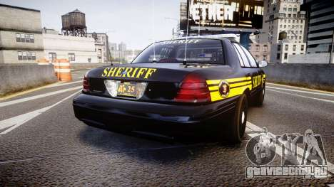 Ford Crown Victoria Sheriff [ELS] black для GTA 4 вид сзади слева