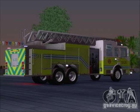 Pierce Arrow XT Miami Dade FD Ladder 22 для GTA San Andreas вид справа