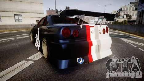 Nissan Skyline R34 GT-R Drift для GTA 4 вид сзади слева