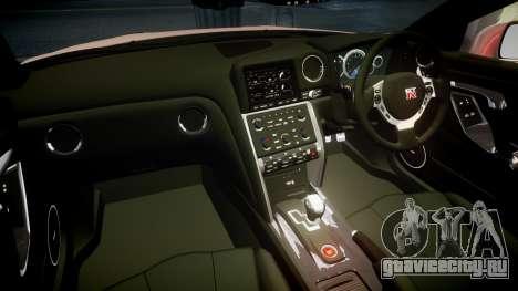 Nissan R35 GT-R V.Spec 2010 для GTA 4 вид изнутри